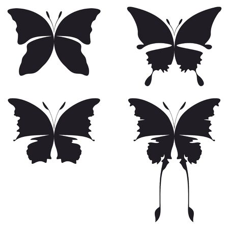 four illustration of buttefly silhouette black on white Stock Illustration - 3635886