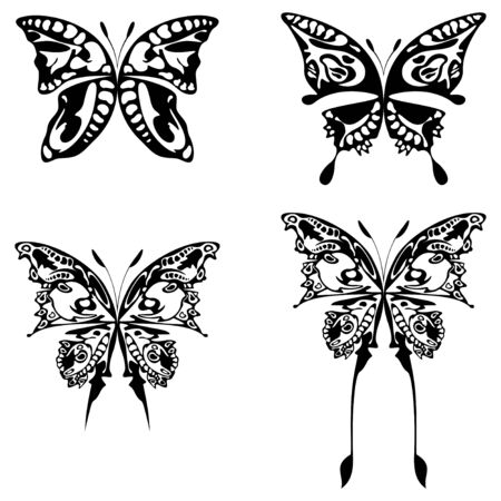 buttefly: four illustration of buttefly black on white