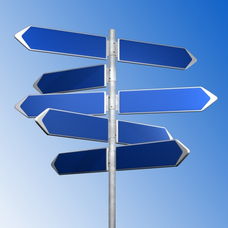 BLue directionl signs on a blue background Stock Photo
