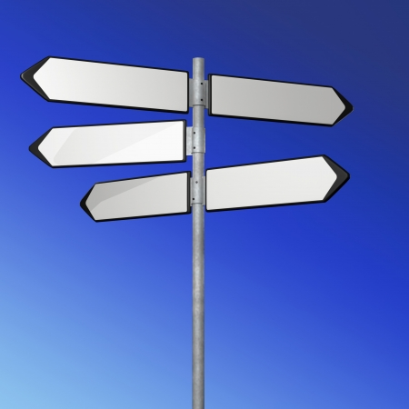 white directional sign on blue sky