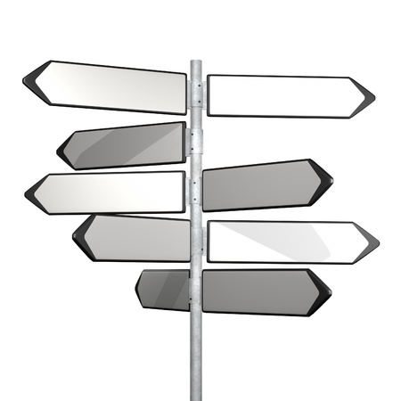 directional: white directionl signs on a blue background