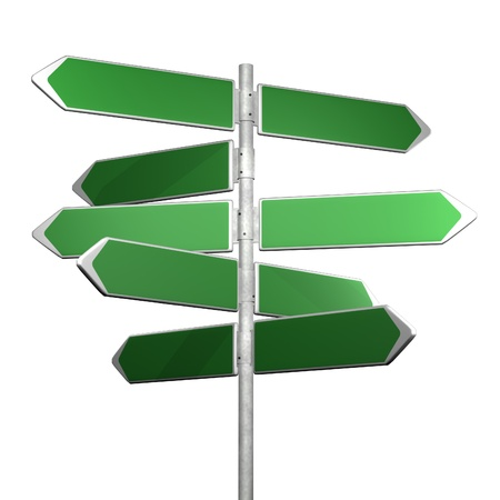 blank road sign: green directionl signs on a white background
