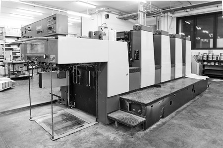 Offset printing machine inside a press industry Stock Photo