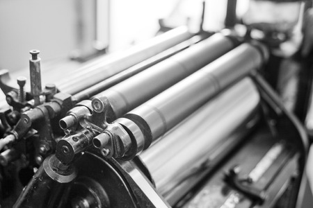 print media: Close up of an old printing machine  Stock Photo