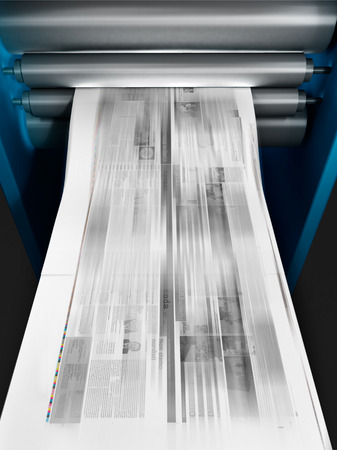 print media: 3d illustration of a machine printing a newspaper