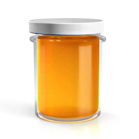 Honey glass jar isolated on white background