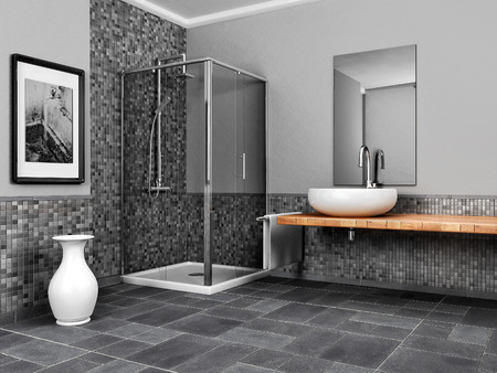 large bathroom with stone and mosaic grey tone Фото со стока - 37454007