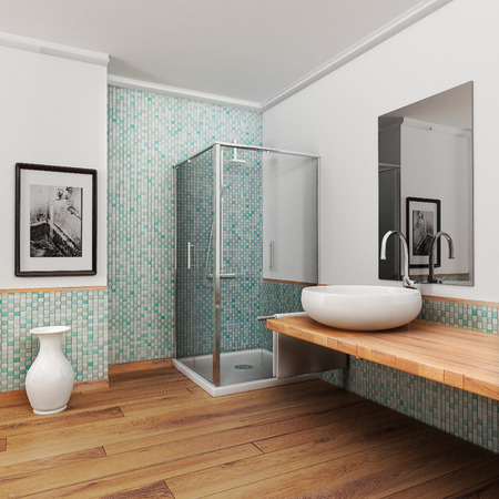 bathroom tiles: large bathroom with wood floor and vintage mosaic light blue and green Stock Photo