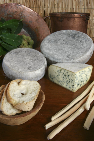 italian blue cheese sliced on wood background with bread and grissini