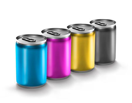 aluminum: colourful aluminum can isolated on white background