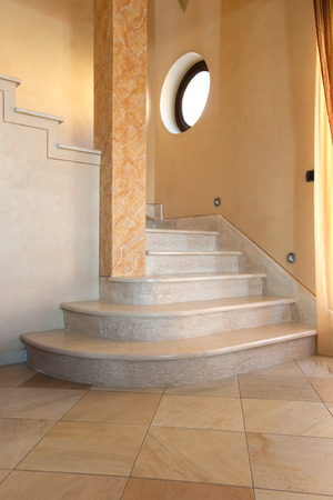 way of living: beatutful interior staircase with marble