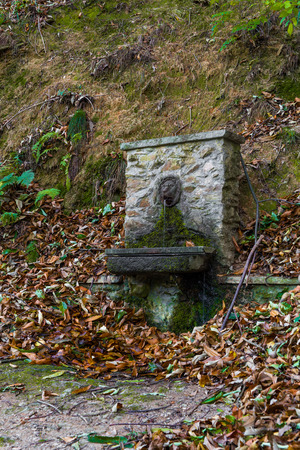 fountain in the middel of the wood - italy Stock Photo
