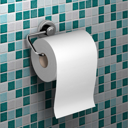 roll of white toilet paper hanging on a chrome toilet roll holder on an mosaic tile background