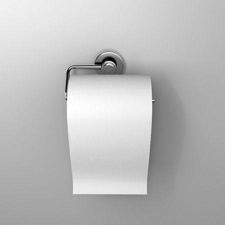 toilet roll: roll of white toilet paper hanging on a chrome toilet roll holder on an isolated background