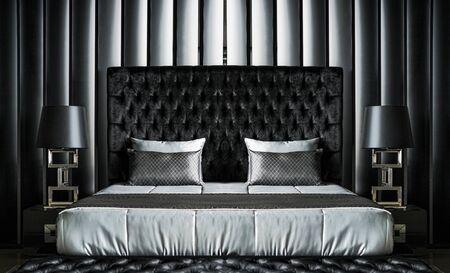 modern bedroom: Modern black bedroom