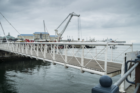 Movable bridge at waterfront harbor