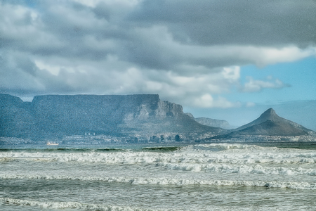 Cape town view with sea and waves