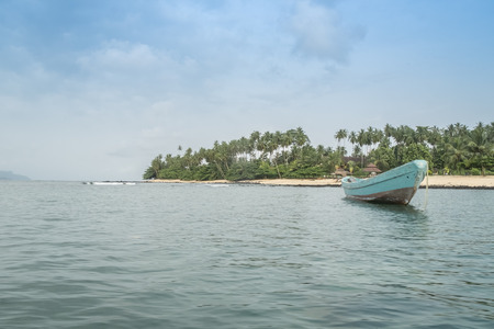 principe: African fishing boat on the tropical island of sao tome