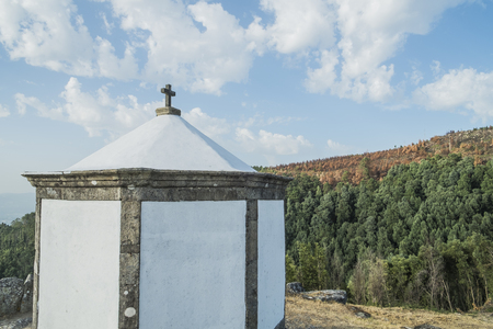 Little church on top of a mountain Stock Photo