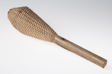 African handmade instrument, rattle isolated on white background