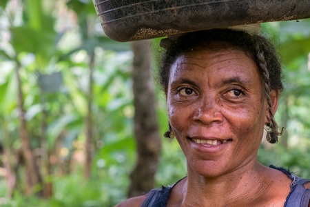 PRINCIPESAO TOME - 4 JAN 2016 - Portrait of african rural woman, native of são tome.