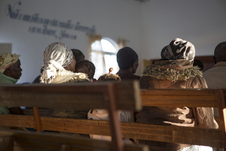 African church in Angola, with natural light from the windows Stock Photo