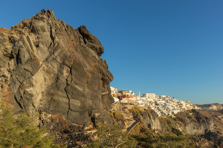Hillside view from the cable car with sunset, Santorini, Greece. Stock Photo