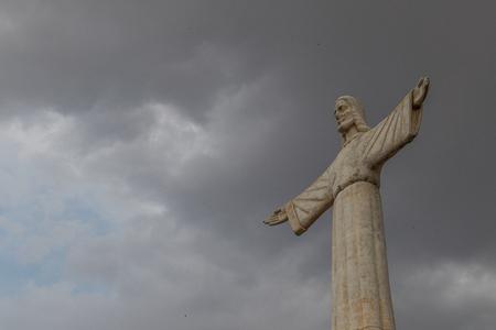 Famous Lubango landmark. King Christ. Stock Photo