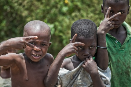 MALANJE/ANGOLA - 10 MAR 2018 - Portrait of African boys in the province of Malanje Angola. Editorial