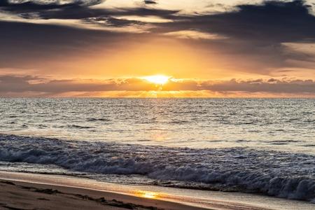 Beautiful sunset on Cabo Ledo beach. Angola. Africa.
