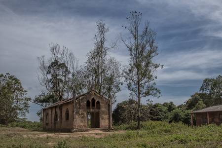Church near malanje, Angola, Africa, Portuguese colonial time church. 版權商用圖片