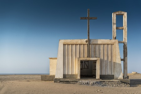 Church in the province of Namibe. Angola. Africa, Church of Portuguese colonial time. Stock Photo