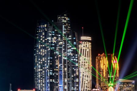 UAE/ABUDHABI 18 DEZ 2018 - Night photography, long exposure of the Abu Dhabi marina. UAE.