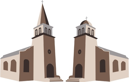 sanctuary: Two churches in vector illustration Illustration