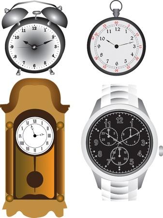 Alarm clock, pocket clock, wall clock and a watch