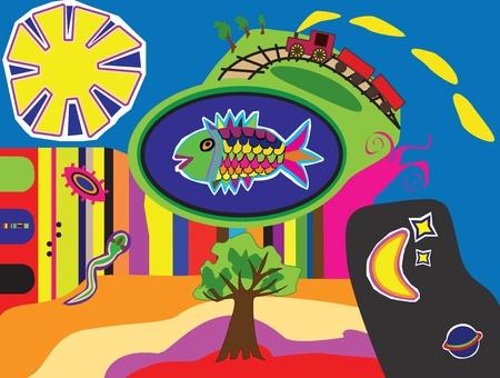 striped snake head fish: Fantasy illustration containing fish, sun, moon, stars, trees, snake and train.