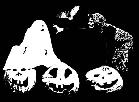 Halloween illustration with witch, ghost, pumpkin and a bat Illustration