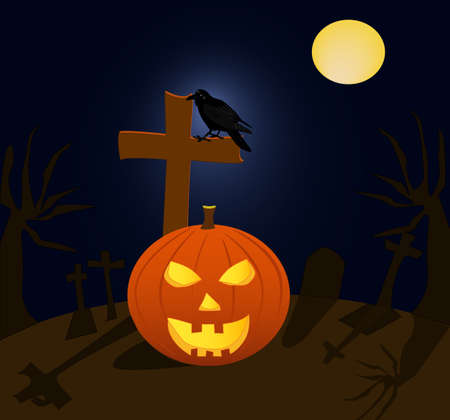 rood: Halloween pumpkin and raven in cemetery during the full moon Illustration