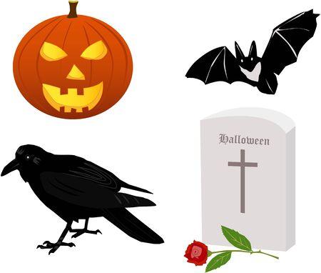 Halloween attributive - pumpkin, raven, grave and a bat