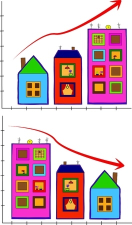 Vector with houses increasing by size Illustration