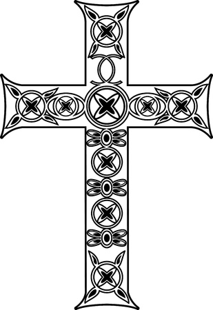 baptist: Vector black and white cross with ornaments Illustration