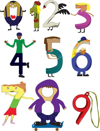coatee: Set of numbers from 0 to 9 illustrated in a way resembling some image, fantasy, similarity