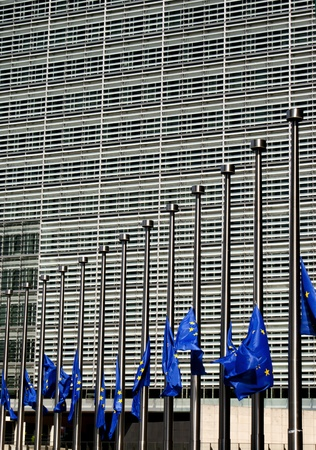 Flags of European Union in half-mast by the European Commission building