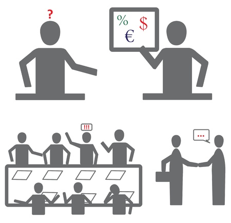 pictograph with business people in office Vector