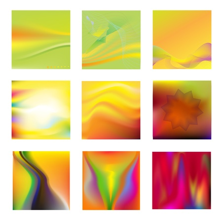 Set of 9 abstract colorful backgrounds Vector