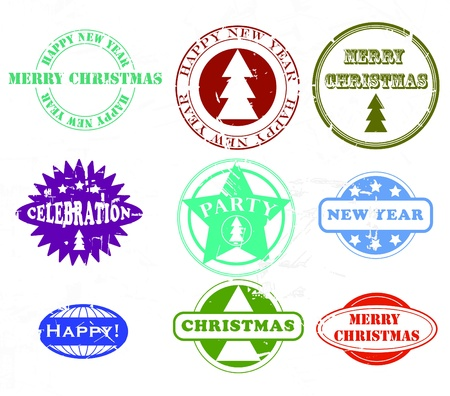 Collection of Christmas and New Year rubber stamps. Scratches are in separate layer. Illustration