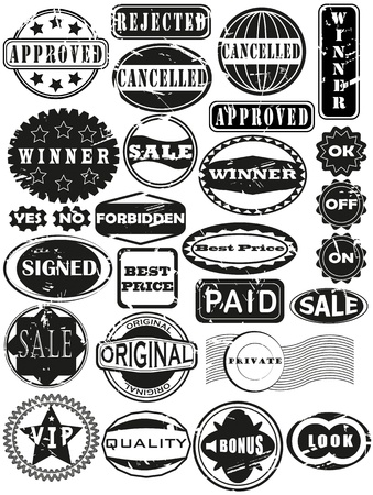 Collection of rubber stamps. Scratches in separate layer. See other rubber stamp collections in my portfolio.  Vector