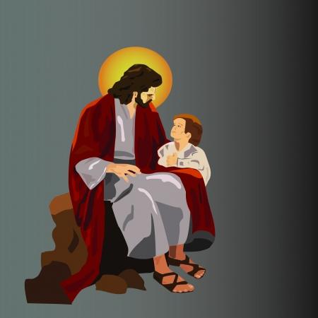 Jeasus con el niño Ilustración de vector