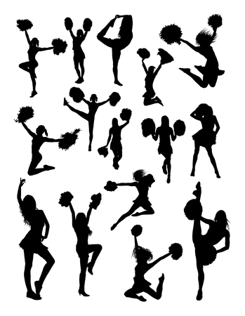 Cheerleader silhouette.  Good use for symbol, logo, web icon, mascot, sign, or any design you want.
