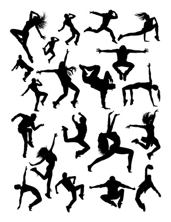 Dancer silhouette in black and white. 版權商用圖片 - 96837329